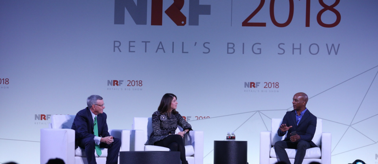 From left to right: Alfred Kelly, CEO, Visa; Karen Katz, President and CEO, The Neiman Marcus Group, Inc.; and Jon Fortt, Squawk Alley Co-Anchor, Fortt Knox Host, CNBC discuss the future of payments.