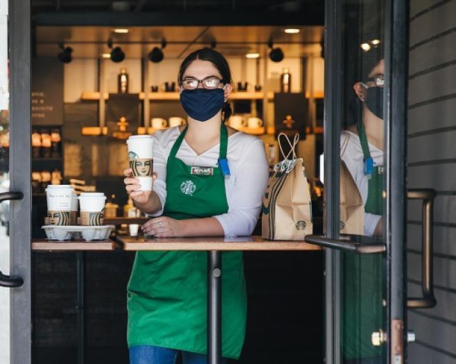 starbucks coffee mask employee