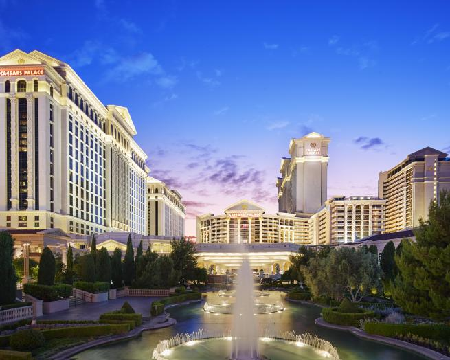 a tall building in Caesars Palace