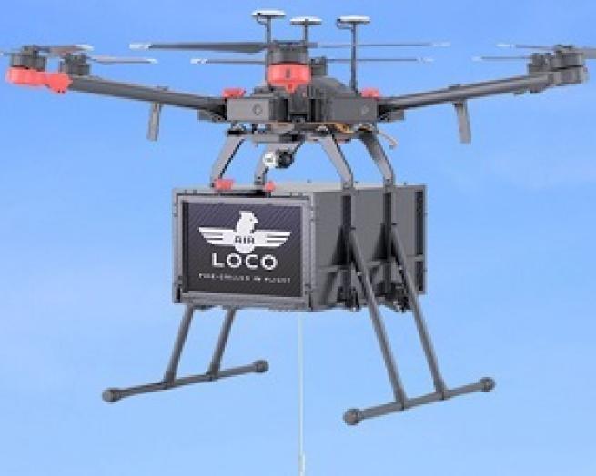 drone delivering El Pollo Loco