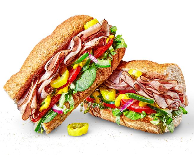 a Subway sandwich cut in half
