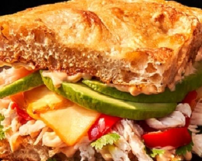 a close up of a Panera Bread sandwich